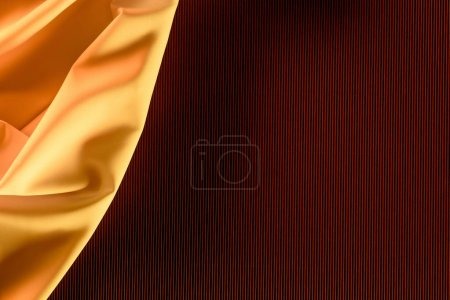 close up view of orange elegant silk fabric as background