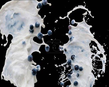Waves of splashing milk with ripe berries on black background