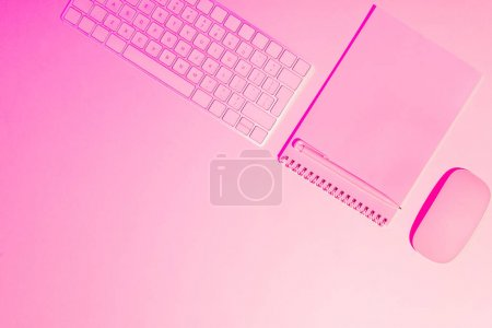 pink toned picture of pen, empty textbook, computer keyboard and mouse on table