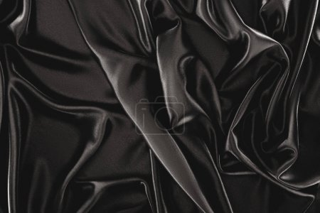 Photo for Full frame of black elegant silk cloth as background - Royalty Free Image