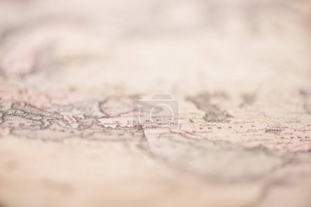 close-up shot of vintage world map, travel concept