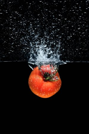 close up view of tomato falling into water with splashes isolated on black