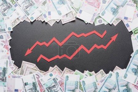 Foto de Flechas de aumento y recesión en el marco de billetes de dólar, euro y rublo sobre fondo negro - Imagen libre de derechos