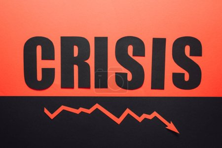 Photo for Top view of word crisis and recession arrow on black and red background divided horizontally - Royalty Free Image