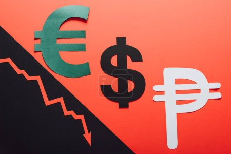 euro, dollar and peso symbols, and recession arrow on red and black background divided by sloping line