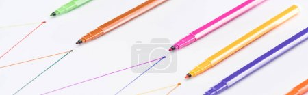 Photo for Panoramic shot of colorful felt-tip pens on white background with connected drawn lines, connection and communication concept - Royalty Free Image