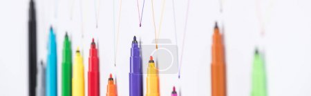 Photo for Top view of felt-tip pens on white background with connected drawn lines, connection and communication concept - Royalty Free Image