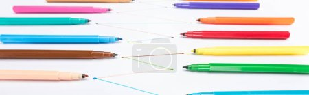 Photo for Selective focus of felt-tip pens on white background with connected drawn lines, connection and communication concept - Royalty Free Image