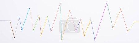 Photo pour Top view of colorful connected drawn lines, connection concept - image libre de droit