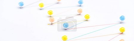 Photo for Panoramic shot of colorful connected drawn lines with pins, connection concept - Royalty Free Image