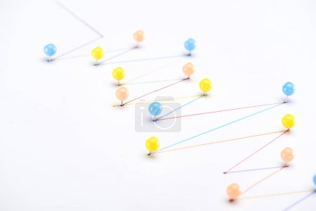 Photo for Colorful connected drawn lines with pins, connection and communication concept - Royalty Free Image
