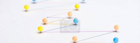 Photo for Panoramic shot of colorful connected drawn lines with pins, connection and communication concept - Royalty Free Image