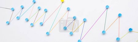 Photo for Panoramic shot of colorful connected drawn lines with pins, connection and leadership concept - Royalty Free Image