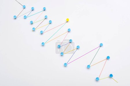 Photo for Colorful connected drawn lines with pins, connection and leadership concept - Royalty Free Image