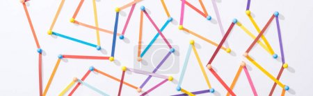 Photo for Top view of multicolored abstract connected lines with pins, connection and communication concept - Royalty Free Image
