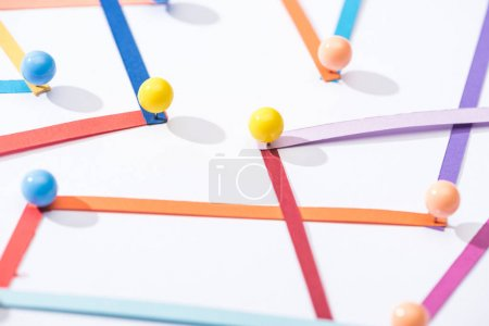Photo for Close up view of multicolored abstract connected lines with pins, connection and communication concept - Royalty Free Image