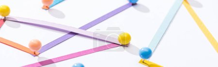 Photo for Panoramic shot of multicolored abstract connected lines with pins, connection and communication concept - Royalty Free Image