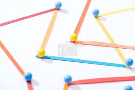 Photo for Multicolored abstract connected lines with pins, connection and communication concept - Royalty Free Image