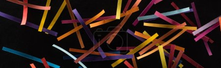 Photo for Top view of multicolored abstract lines scattered isolated on black background, connection and communication concept - Royalty Free Image