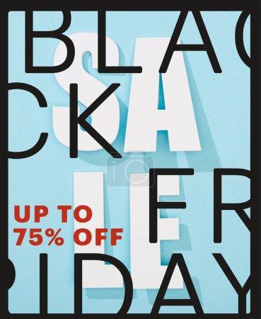 Photo pour Vue d'en haut du lettrage blanc sur fond bleu avec le vendredi noir, jusqu'à 75 p. - image libre de droit