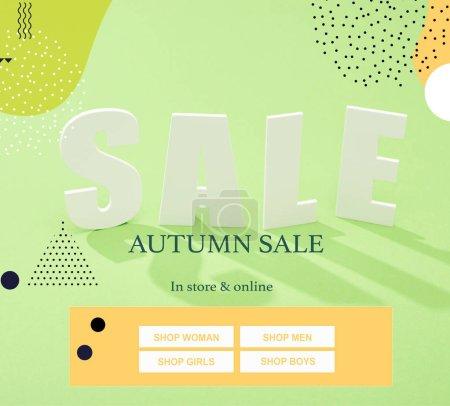Photo pour Lettre de vente blanche avec ombre sur fond vert avec illustration de vente automnale - image libre de droit