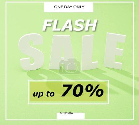 Foto de Carta de venta en blanco con sombras en fondo verde con venta de flash, hasta un 70 por ciento de ilustración. - Imagen libre de derechos