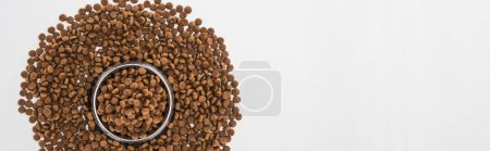 top view of dry pet food in silver bowl and around isolated on white, panoramic shot