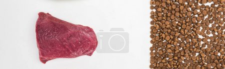 top view of dry pet food scattered near raw meat isolated on white, panoramic shot
