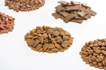 Photo for Selective focus of fresh assorted dry pet food in piles isolated on white - Royalty Free Image