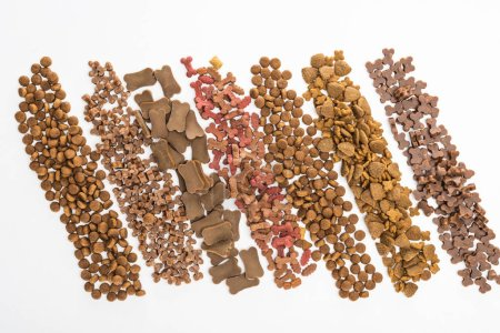 Photo for Top view of fresh assorted dry pet food in lines isolated on white - Royalty Free Image