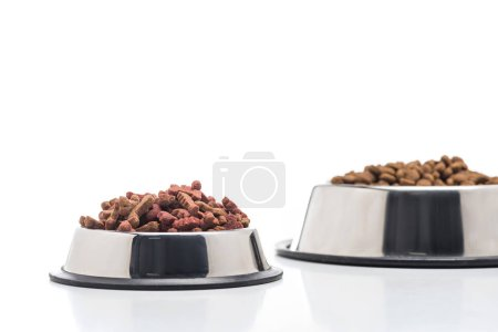 selective focus of assorted dry pet food in bowls isolated on white