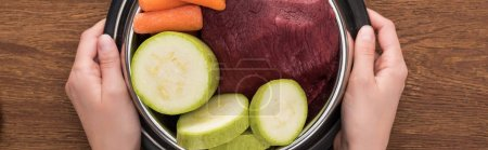 Photo for Cropped view of woman holding pet bowl with raw meat and vegetables on wooden background, panoramic shot - Royalty Free Image