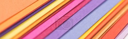 panoramic shot of colorful, bright and blank papers