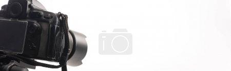 Photo pour Appareil photo numérique professionnel noir isolé sur blanc, photo panoramique - image libre de droit