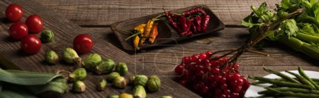 Photo for Food composition for commercial photography on wooden table - Royalty Free Image