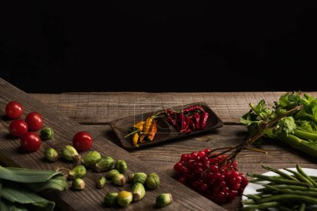 food composition for commercial photography on wooden table