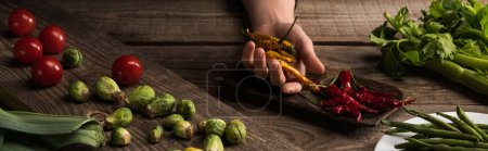 cropped view of commercial photographer making food composition for photo shoot on wooden table