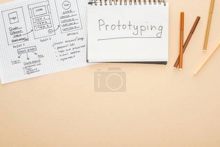 Photo pour Vue du haut du gabarit de conception de site Web, stylos feutre et cahier avec lettrage de prototypage sur fond beige - image libre de droit