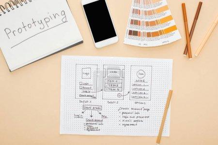 Photo pour Vue du haut du smartphone près du modèle de conception de site Web, palette de couleurs, stylos feutre et ordinateur portable avec prototypage lettrage sur fond beige - image libre de droit