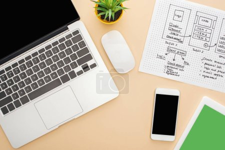 Photo pour Top view of gadgets near website design template and green plant on beige background - image libre de droit