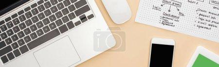 Photo pour Vue du haut des gadgets près du modèle de conception de site Web sur fond beige, panoramique - image libre de droit
