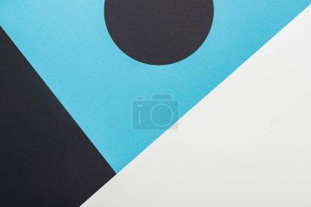 Photo pour Vue du haut du fond géométrique abstrait en noir, bleu et blanc - image libre de droit