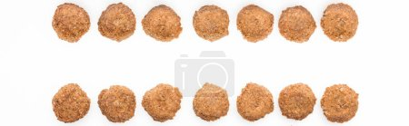 Photo for Flat lay with delicious fresh cooked falafel balls isolated on white, panoramic shot - Royalty Free Image