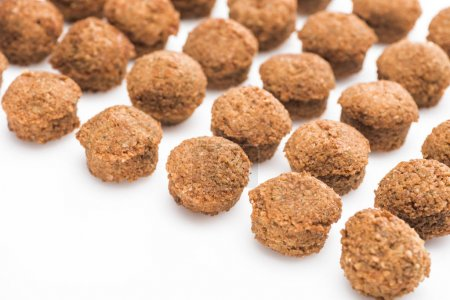 selective focus of delicious fresh cooked falafel balls on white background