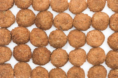 seamless pattern of delicious fresh cooked falafel balls on white background