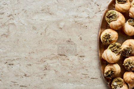 Foto de Top view of delicious cooked escargots on plate on stone background - Imagen libre de derechos