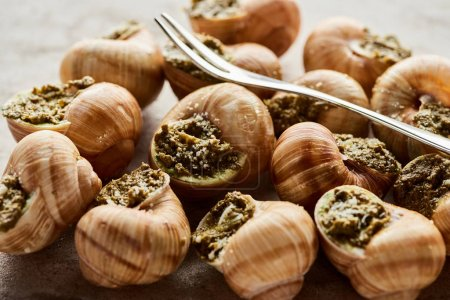 Photo for Delicious gourmet escargots with tweezers on stone background - Royalty Free Image