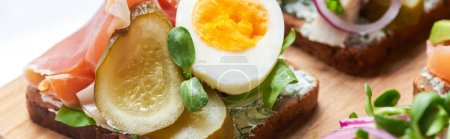 Photo for Panoramic shot of ham, pickled cucumber and half of boiled egg on danish smorrebrod - Royalty Free Image