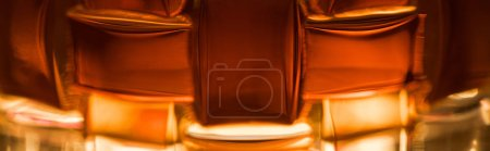 Photo for Close up view of brandy in textured glass, panoramic shot - Royalty Free Image