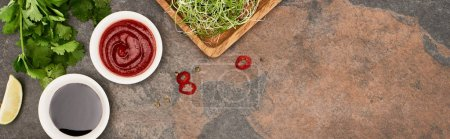 top view of fresh ingredients and sauces on stone surface, panoramic shot